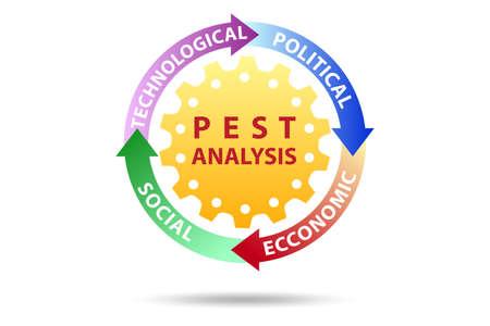 PEST analysis concept in business illustration 免版税图像