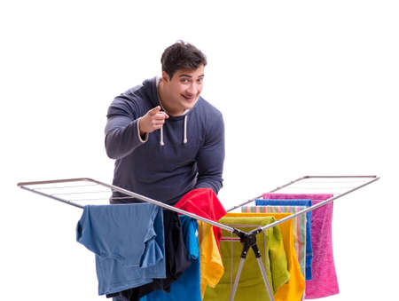 The husband man doing laundry isolated on white