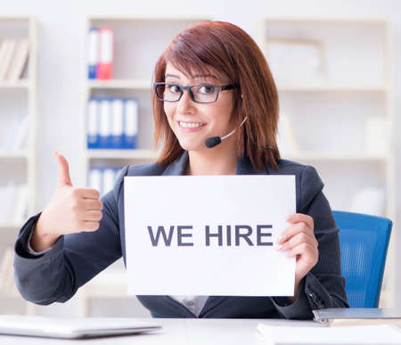 The businesswoman hiring new employees in office