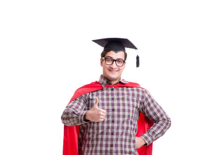 Super hero student graduating wearing mortar board cap isolated Фото со стока