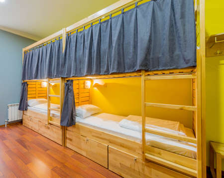 The hostel dormitory beds arranged in room