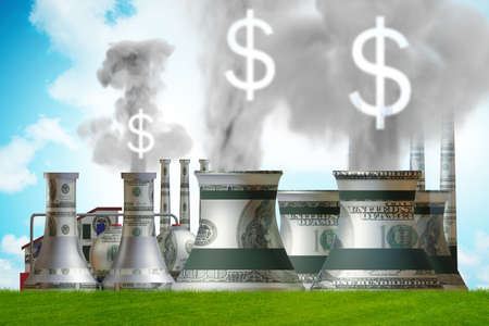 Carbon tax concept with industrial plant - 3d rendering