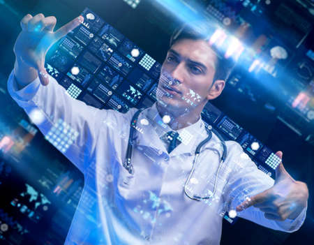 The concept of telemedicine with male doctor Stock Photo