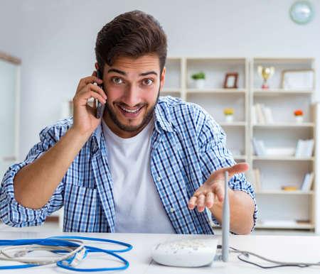 Man enjoying fast internet connection Stock Photo