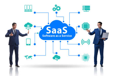 Software as a service - SaaS concept with businessman Stock Photo
