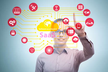 Software as a service - SaaS concept with businesswoman