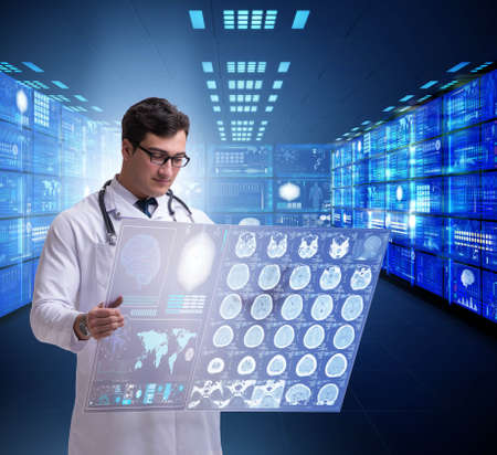 The concept of telemedicine with male doctor