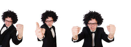 Young man wearing afro wig Stock Photo