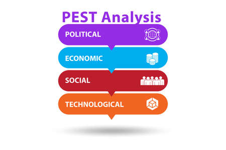 PEST analysis concept in business illustration Stok Fotoğraf
