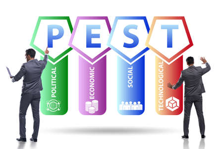 Business people in PEST analysis business concept Stok Fotoğraf