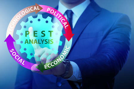 Business people in the PEST analysis business concept