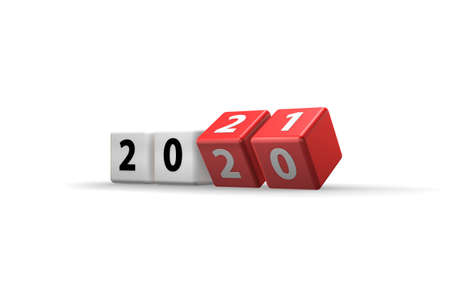 Concept of changing year from 2020 to 2021 - 3d rendering