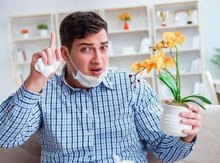 Man suffering from allergy - medical concept Standard-Bild