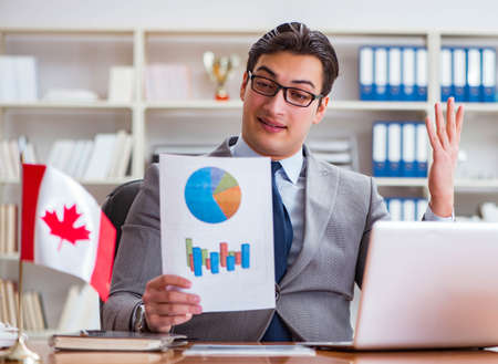 Businessman with Canadian flag in office Stock fotó