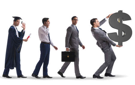 The business concept with man progressing through stages