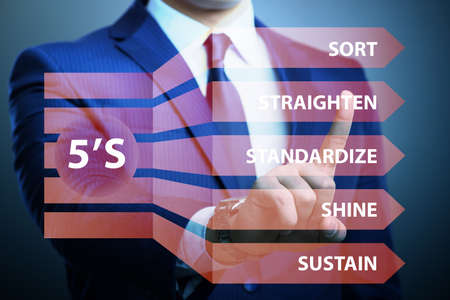 Businessman in 5S workplace organisation concept