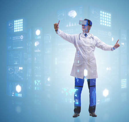Doctor in telemedicine concept with virtual reality glasses
