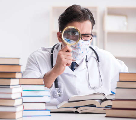 Medical student preparing for university exams Imagens