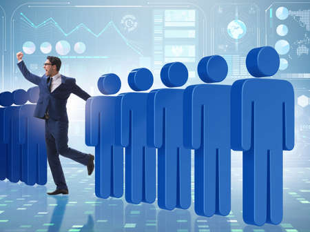 The standing out from crowd concept with businessman