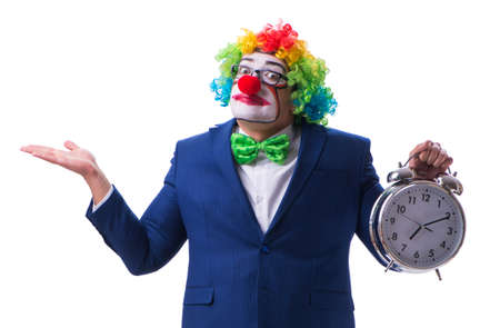 Funny clown businessman with an alarm clock isolated on white ba