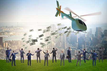 Businessman in helicopter money concept