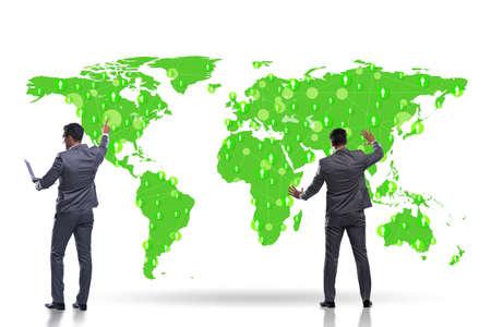 Man pressing virtual button on social network concept