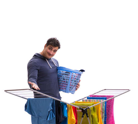 Husband man doing laundry isolated on white Archivio Fotografico