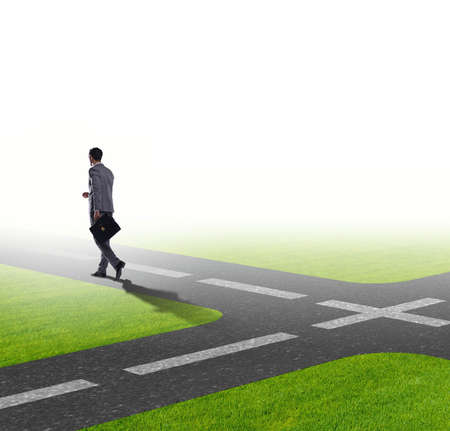 Young businessman at crossroads in uncertainty concept Imagens