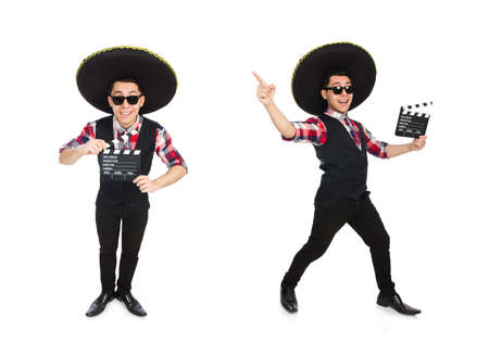 Funny mexican with sombrero in concept Banco de Imagens