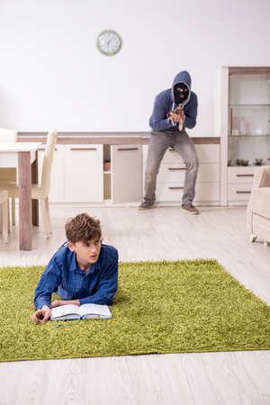 Child abduction concept with young boy Foto de archivo