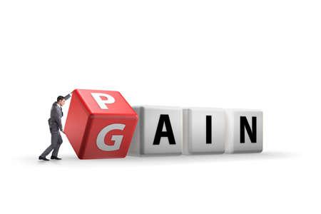 No pain no gain concept with businessman Stockfoto
