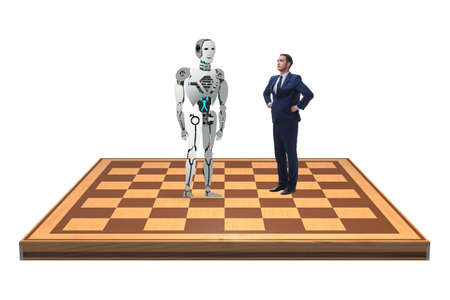 Concept of rivalry between robots and humans 免版税图像
