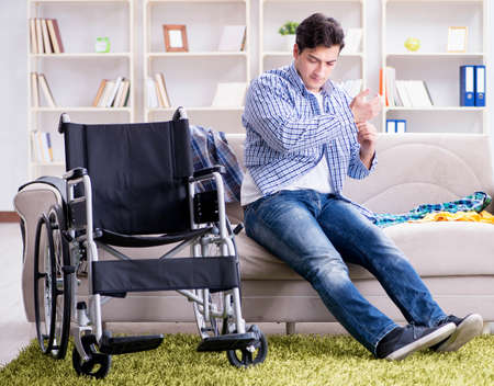Disabled man recovering at home