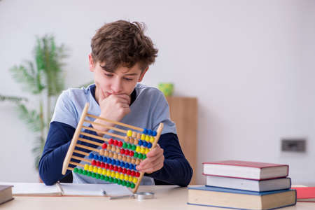 Schoolboy with abacus studying math at home