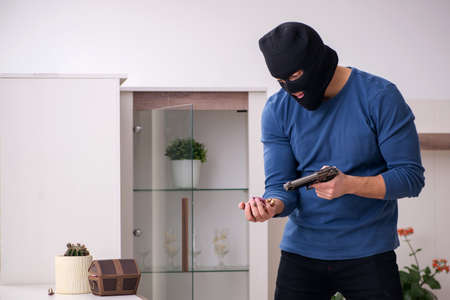Male robber stealing valuable things from the house Reklamní fotografie