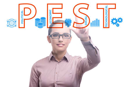 Business people in PEST analysis business concept 免版税图像