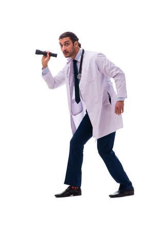 Young male doctor isolated on white 免版税图像