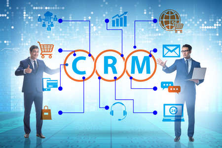 CRM custromer relationship management concept with businessman