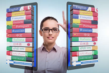 Online language learning with businesswoman