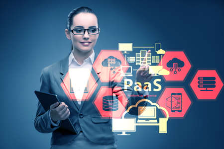 Businesswoman in platform as a service concept