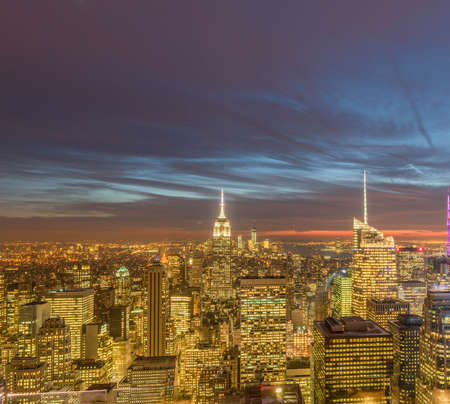 View of New York Manhattan during sunset hours Banco de Imagens