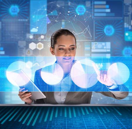 Businessman in futuristic trading concept