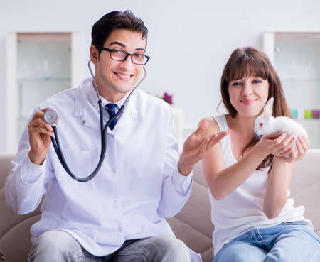 Woman with pet rabbit visiting vet doctor