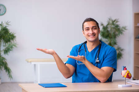 Young male doctor cardiologist explaining heart model
