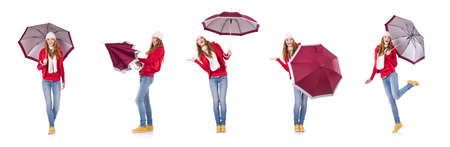 Young woman with umbrella on white Stock fotó