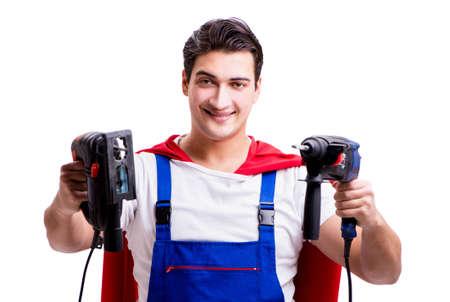 Superhero repairman isolated on white background 写真素材
