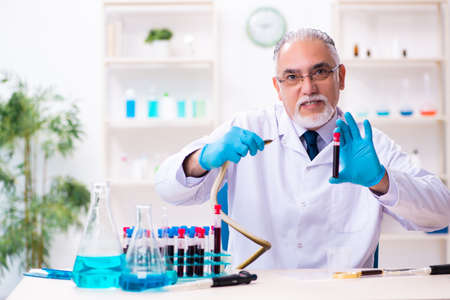 Old chemist holding snake at the science laboratory