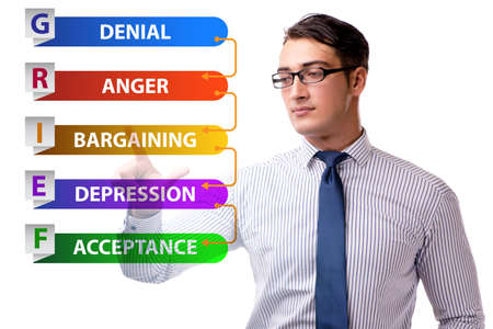 Concept of five stages of grief with businessman Standard-Bild
