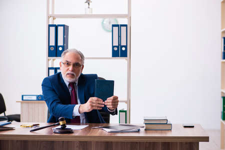 Experienced male judge sitting in the office Archivio Fotografico