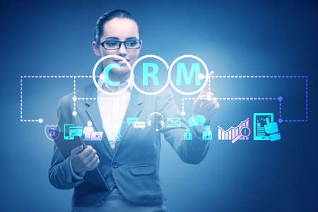 CRM custromer relationship management concept with businesswoman